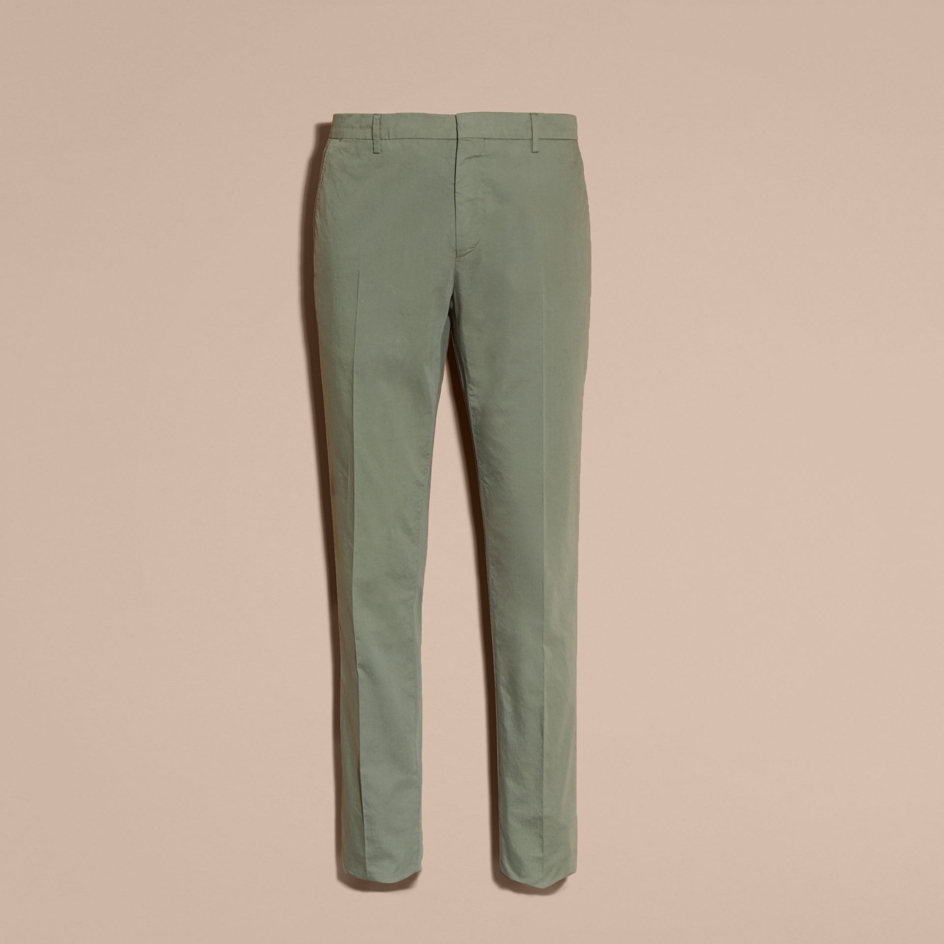 Slim Fit Stretch Cotton Trousers Khaki Green - gallery image 4