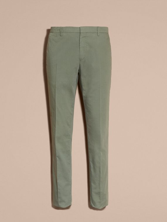 Slim Fit Stretch Cotton Trousers Khaki Green - cell image 3