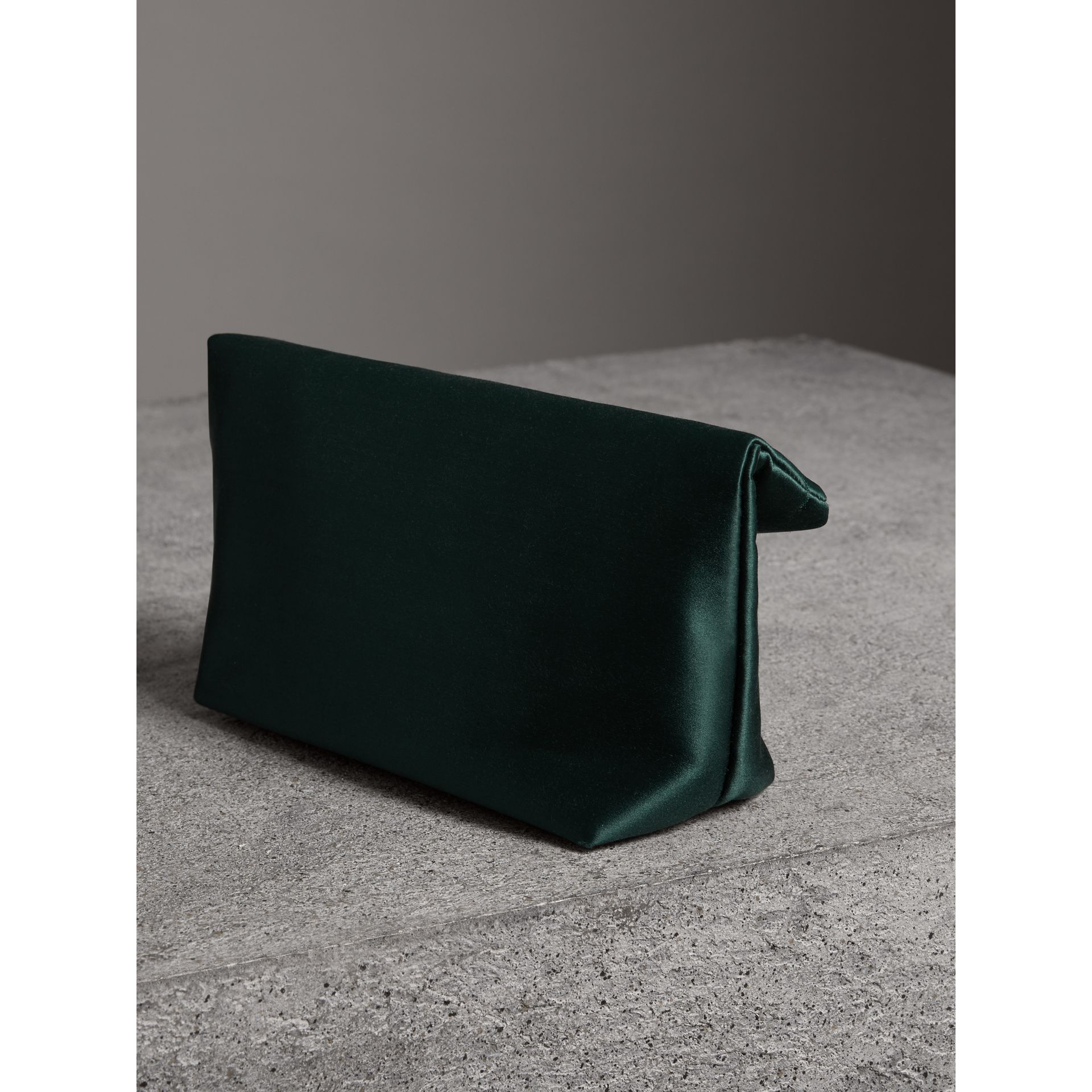 The Small Pin Clutch in Satin in Dark Forest Green - Women | Burberry United Kingdom - gallery image 4