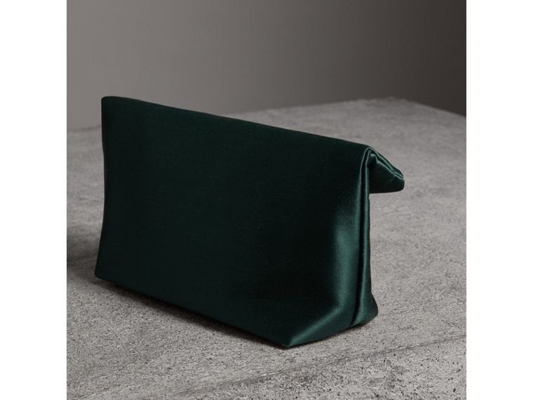 The Small Pin Clutch in Satin in Dark Forest Green - Women | Burberry - cell image 4