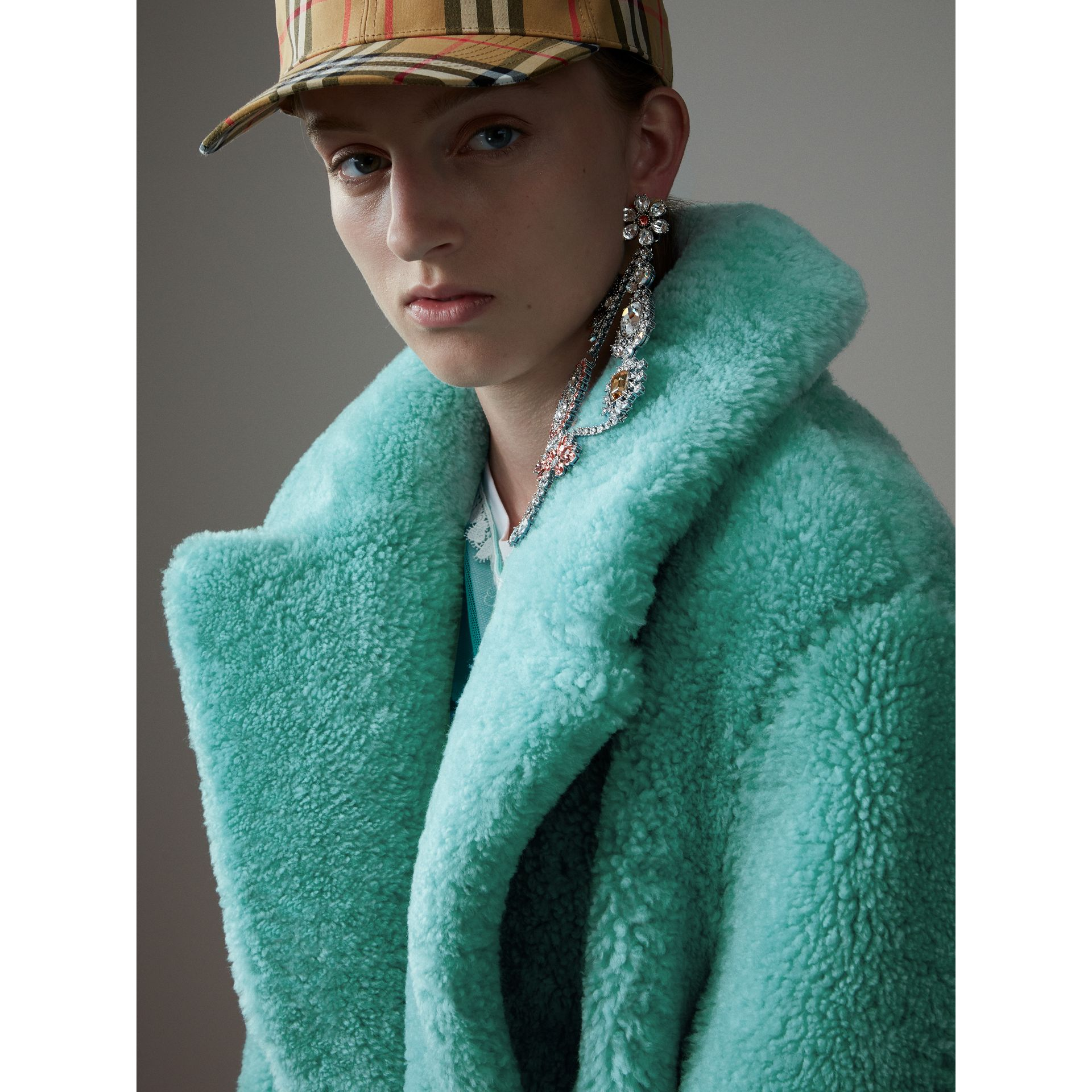 Shearling Oversized Coat in Turquoise - Women | Burberry - gallery image 4