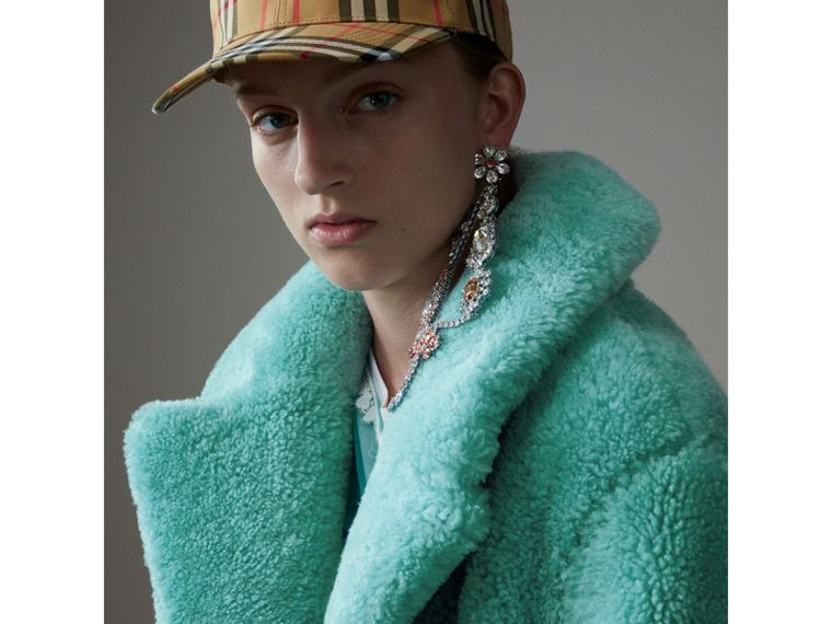 Shearling Oversized Coat in Turquoise - Women | Burberry - cell image 4