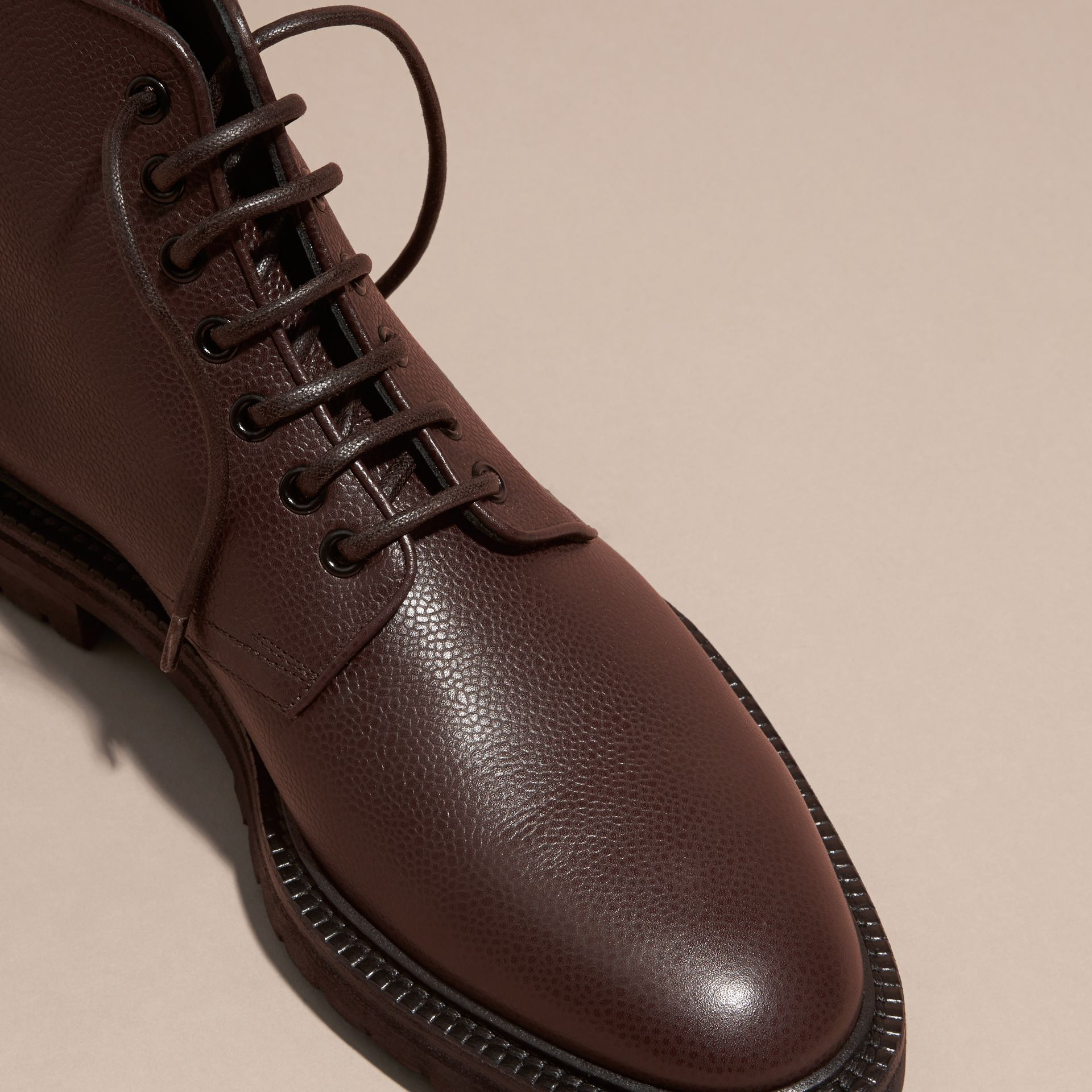 Chestnut Lace-up Grainy Leather Boots Chestnut - gallery image 2