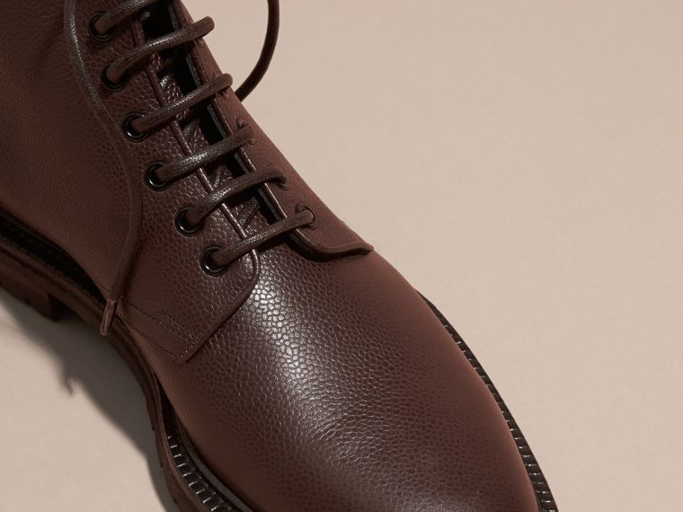 Chestnut Lace-up Grainy Leather Boots Chestnut - cell image 1