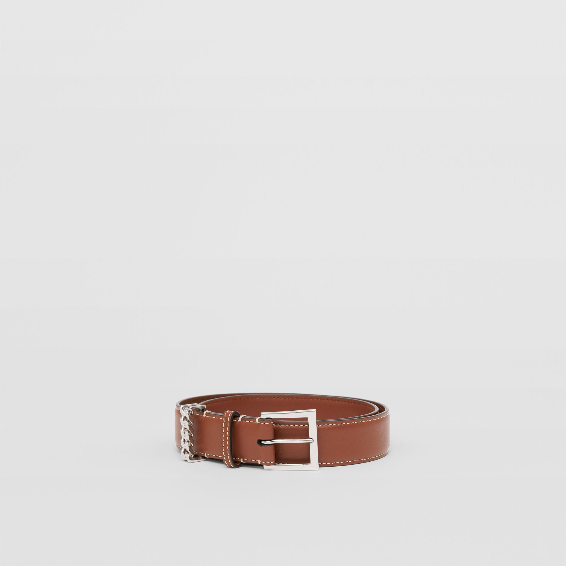 Chain Detail Topstitched Leather Belt in Tan/ecru - Women | Burberry - gallery image 3