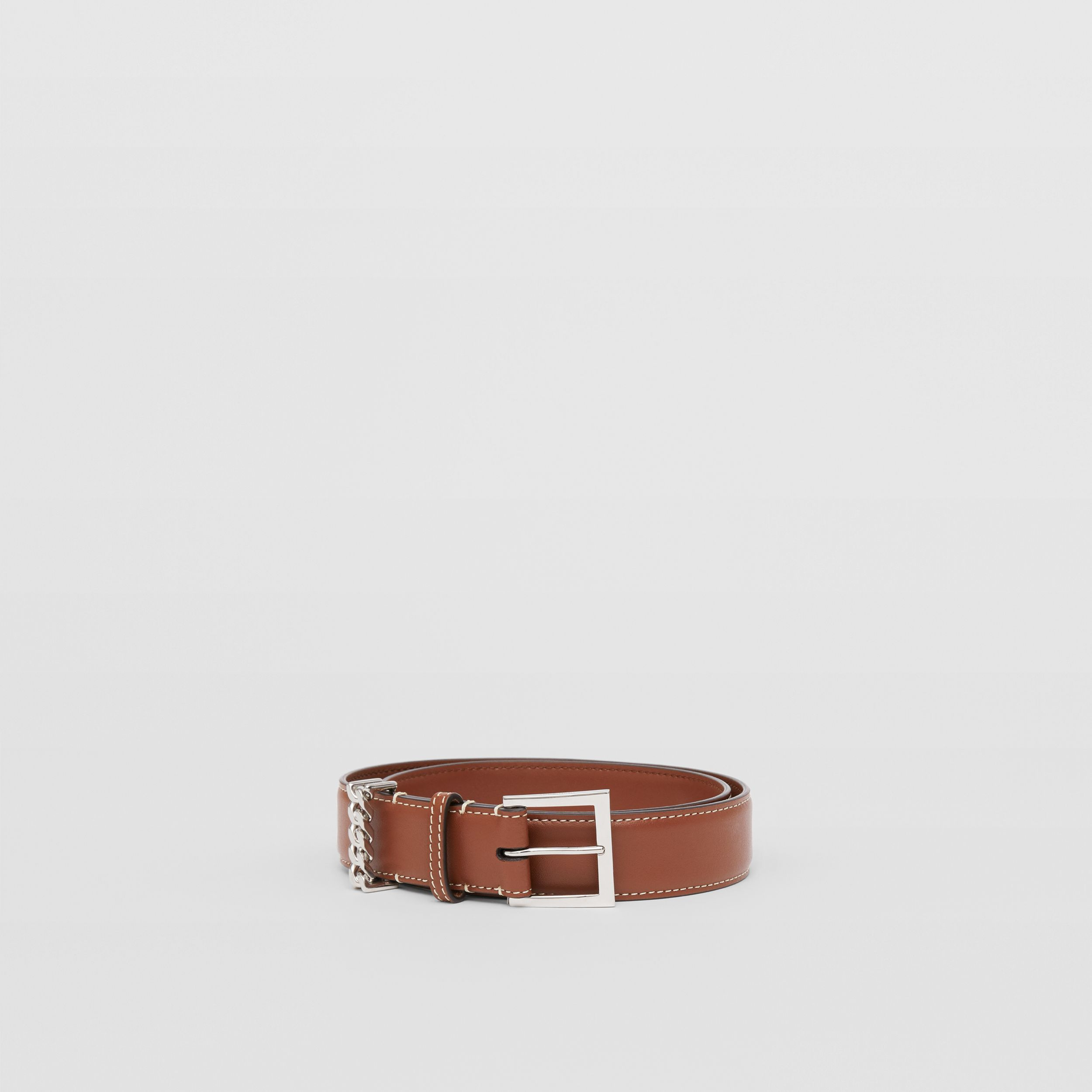 Chain Detail Topstitched Leather Belt in Tan/ecru - Women | Burberry Hong Kong S.A.R. - 4