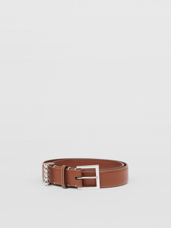 Chain Detail Topstitched Leather Belt in Tan/ecru - Women | Burberry - cell image 3