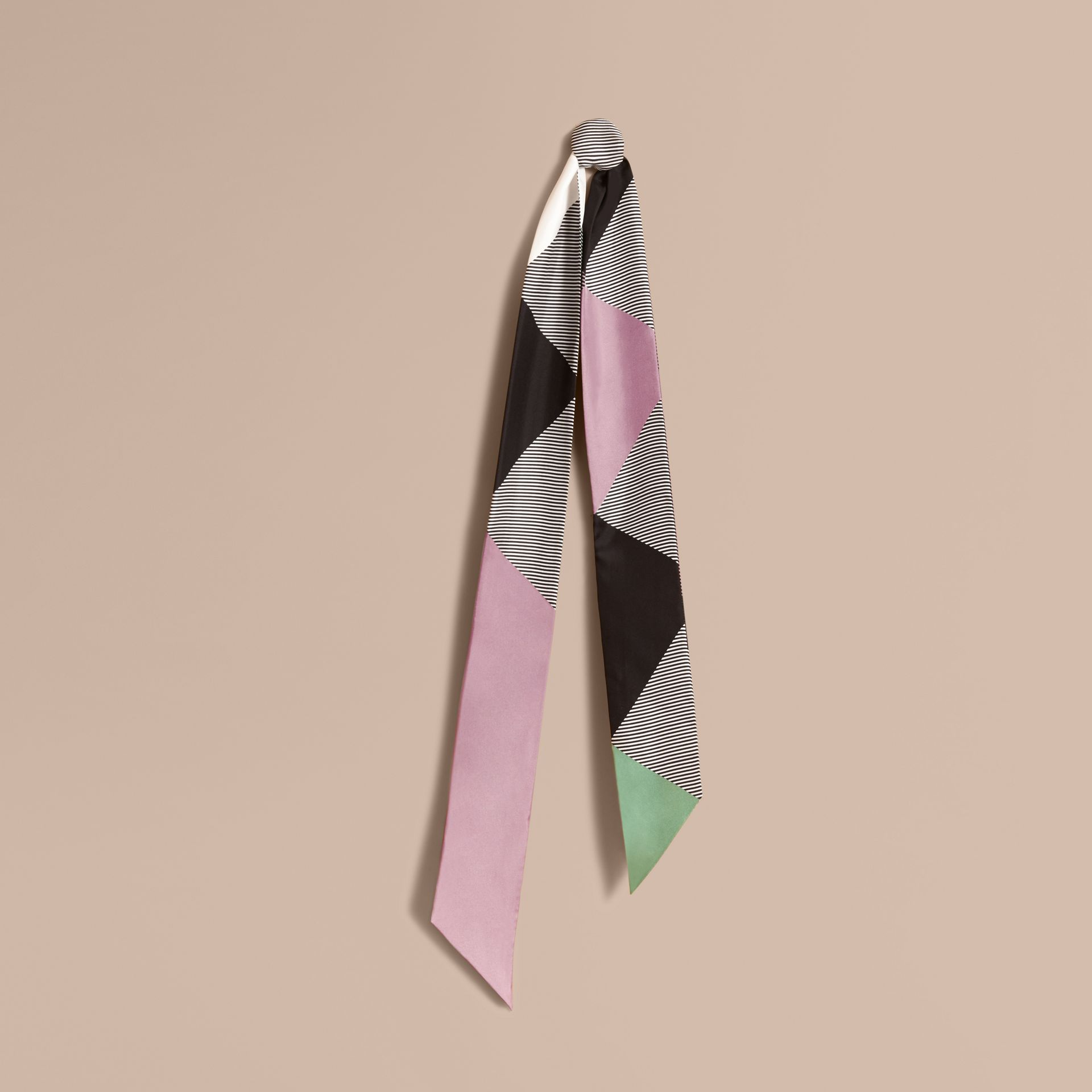 Colour Block and Striped Silk Slim Scarf in Pale Lilac - Women | Burberry United Kingdom - gallery image 1
