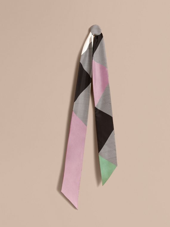 Colour Block and Striped Silk Slim Scarf Pale Lilac
