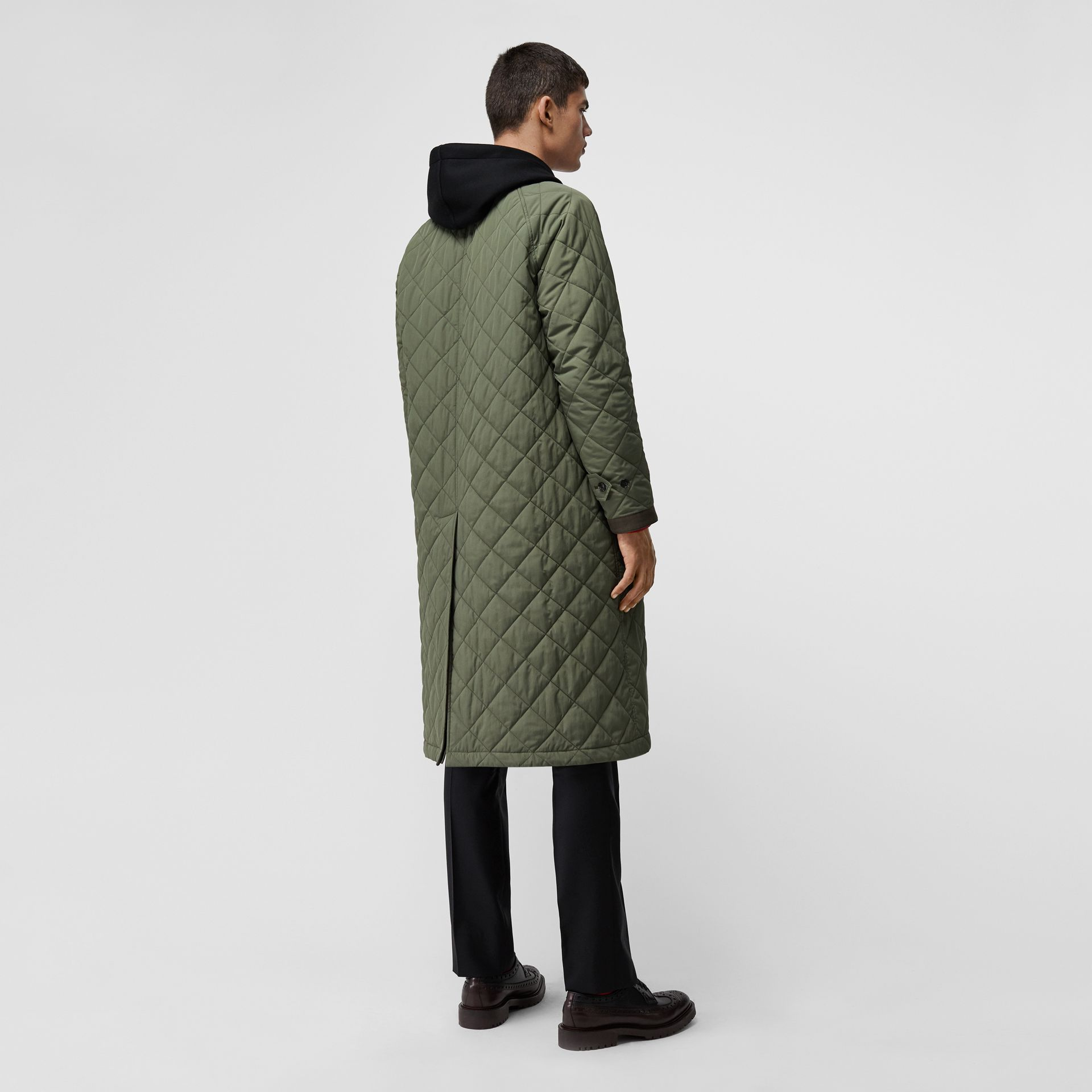 Reversible Diamond Quilted and Cotton Car Coat in Dark Olive - Men | Burberry Singapore - gallery image 2