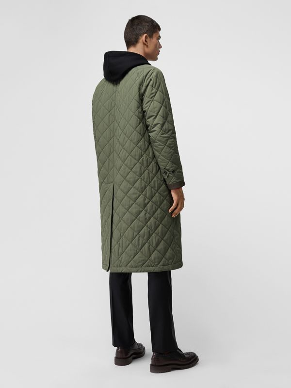 Reversible Diamond Quilted and Cotton Car Coat in Dark Olive - Men | Burberry Singapore - cell image 2