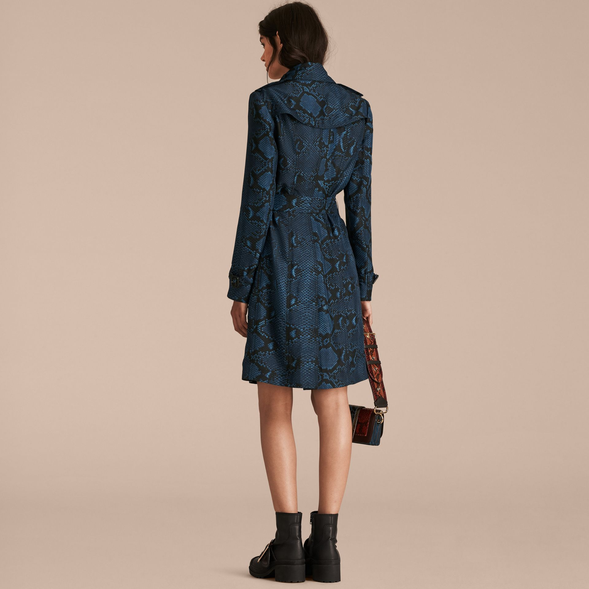 Mineral blue Python Print Silk Trench Coat Mineral Blue - gallery image 3