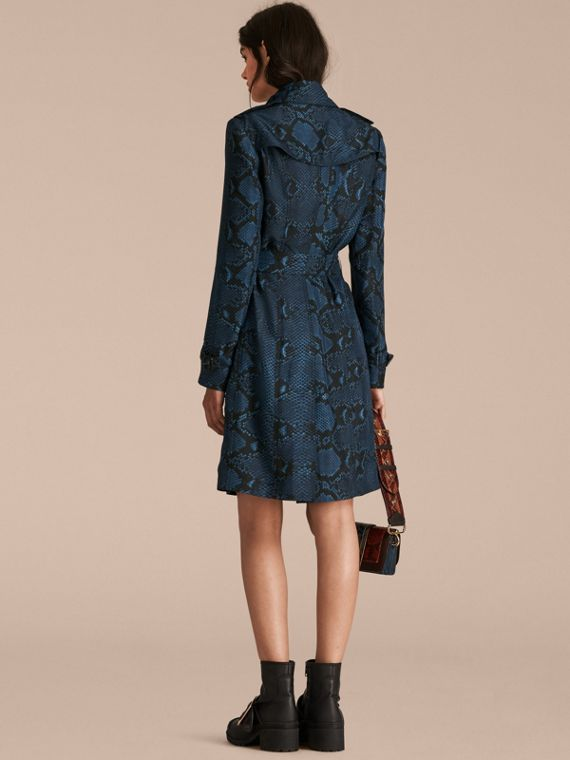 Mineral blue Python Print Silk Trench Coat Mineral Blue - cell image 2