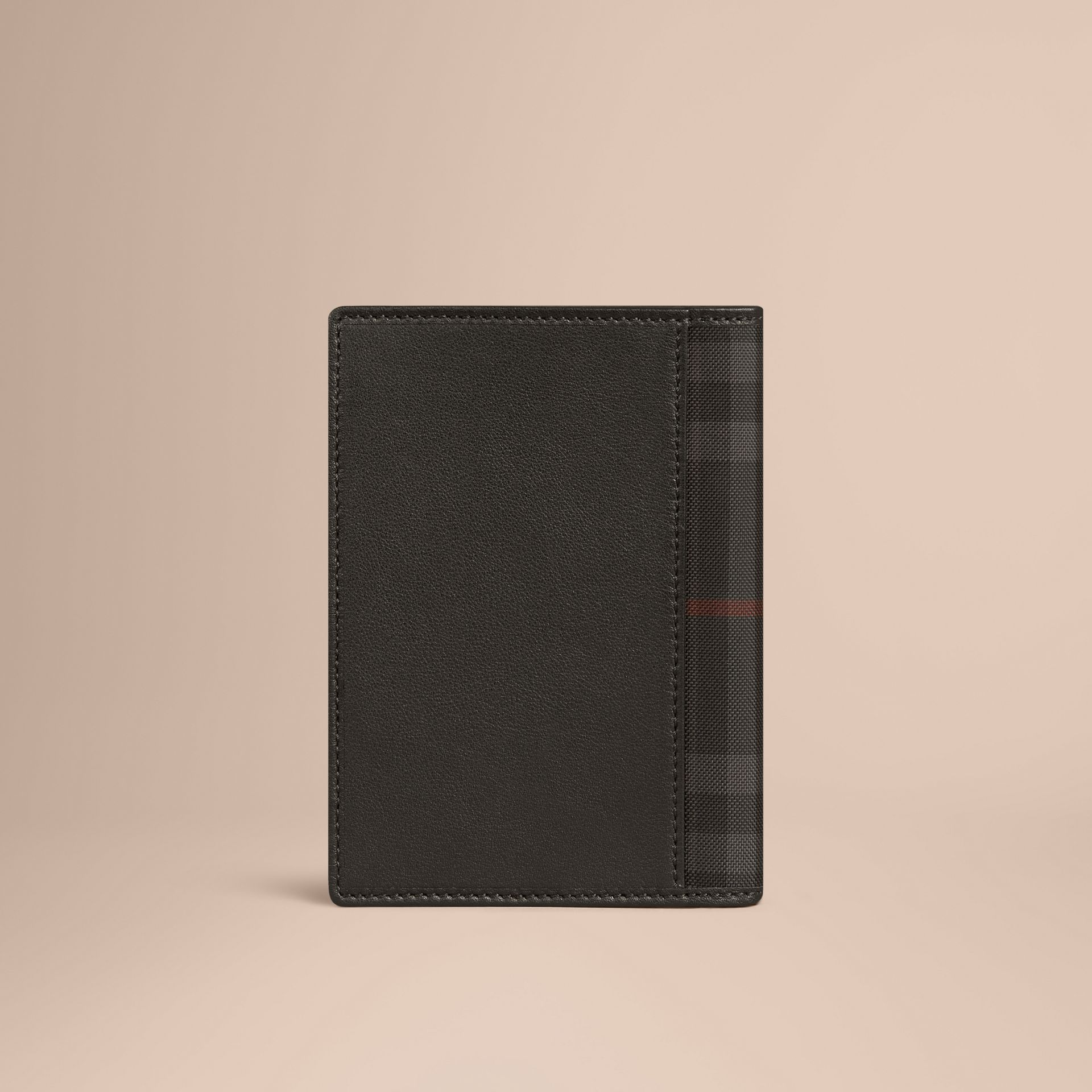 Black Check Detail Leather Passport Cover Black - gallery image 3