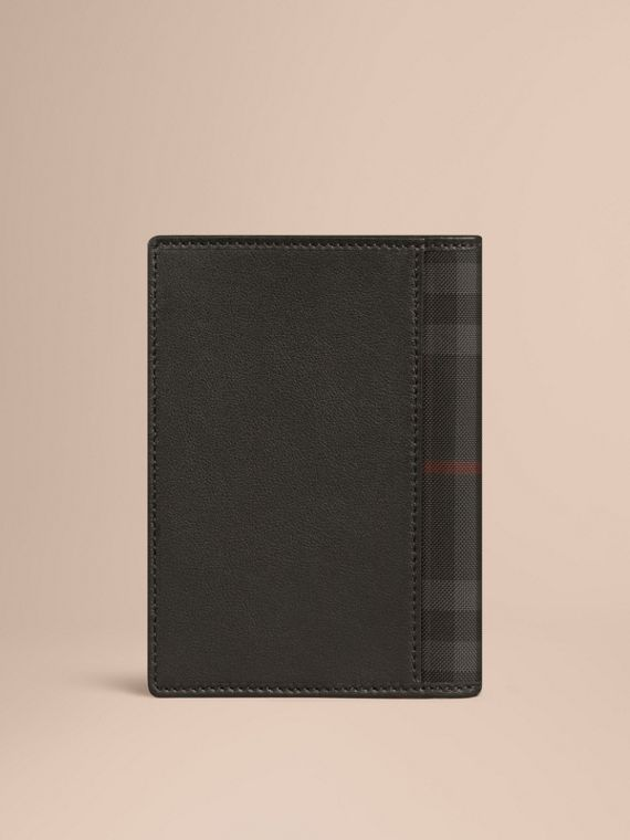 Black Check Detail Leather Passport Cover Black - cell image 2