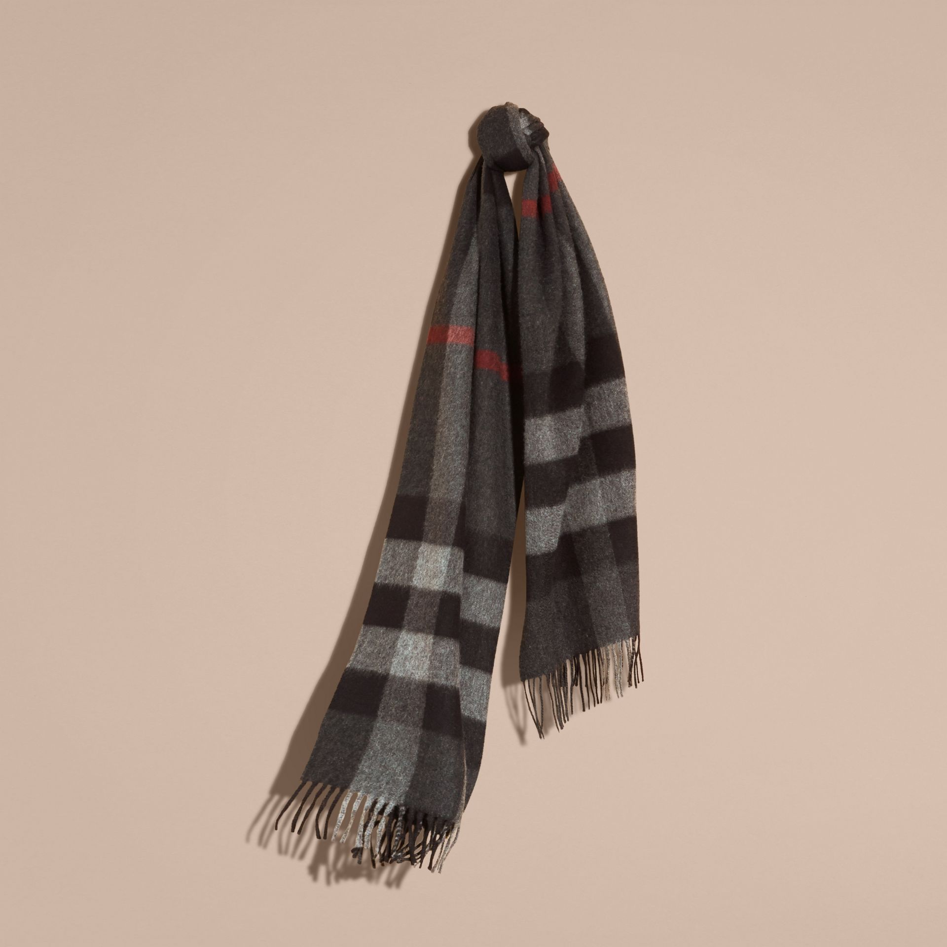 Charcoal check The Large Classic Cashmere Scarf in Check Charcoal - gallery image 6