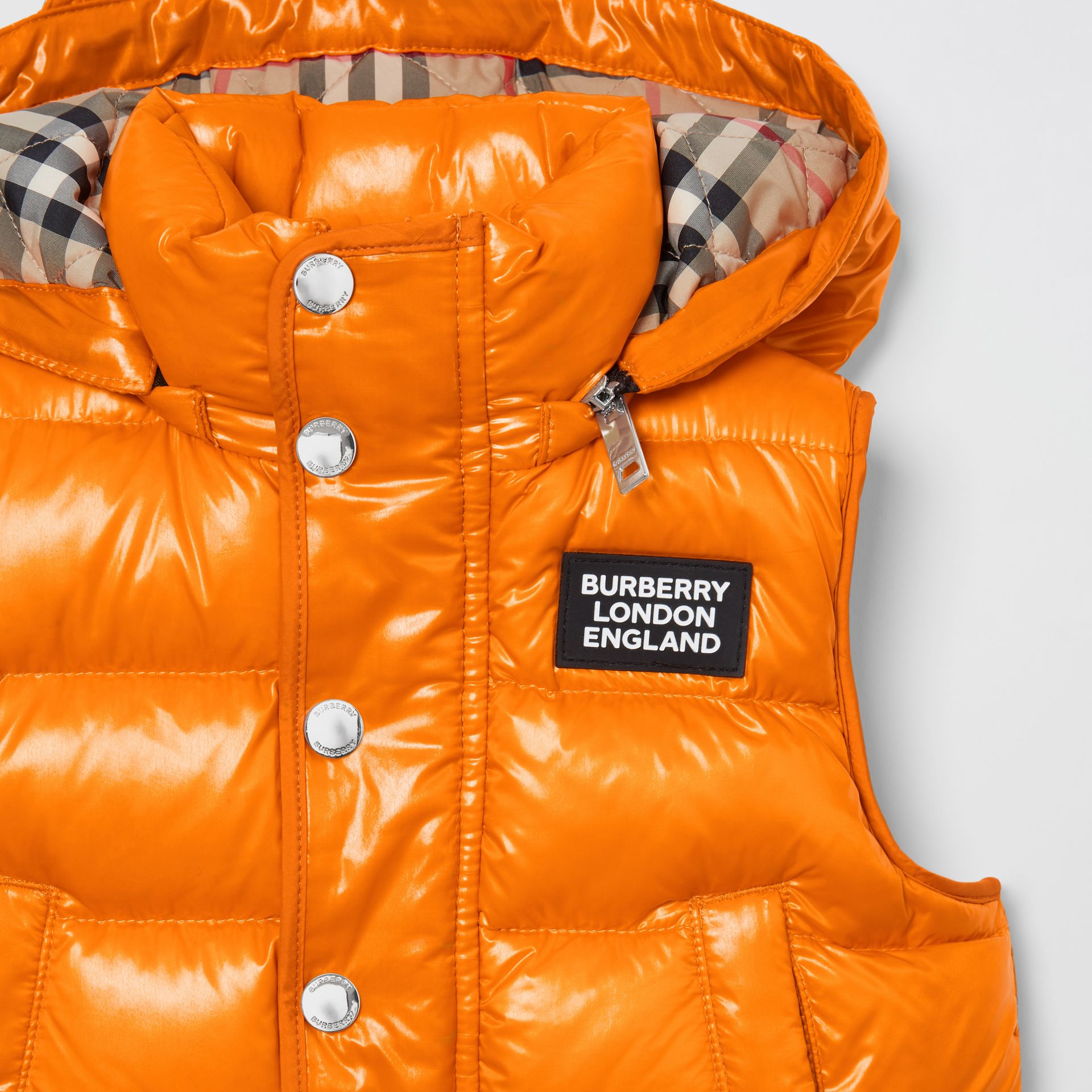 Detachable Hood Nylon Puffer Gilet in Bright Mandarin | Burberry Australia - gallery image 1