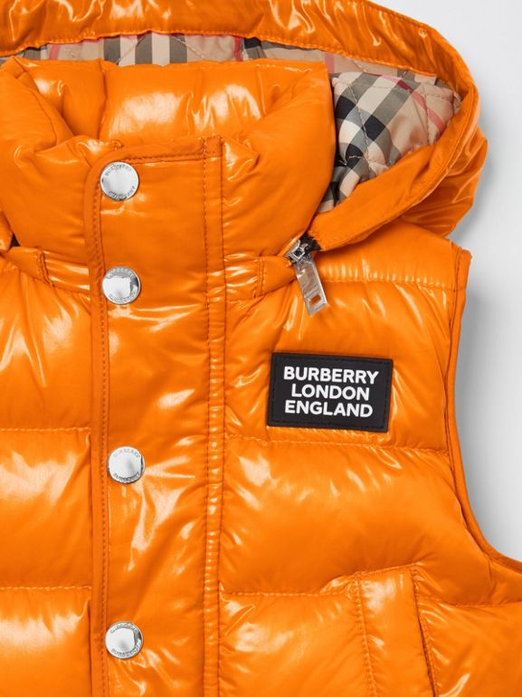 Detachable Hood Nylon Puffer Gilet in Bright Mandarin | Burberry Australia - cell image 1
