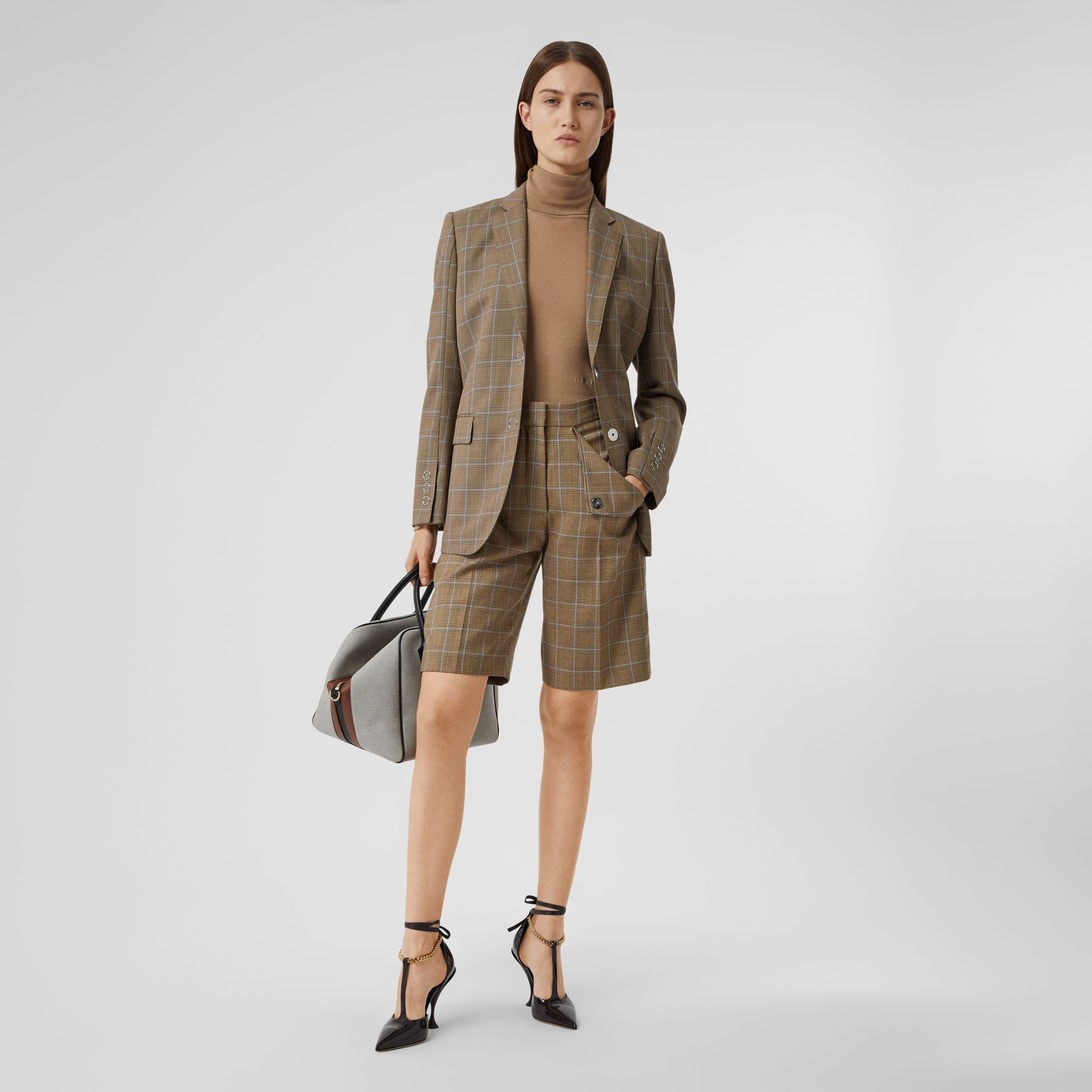 Pocket Detail Prince of Wales Check Wool Shorts in Birch Brown - Women | Burberry - 1