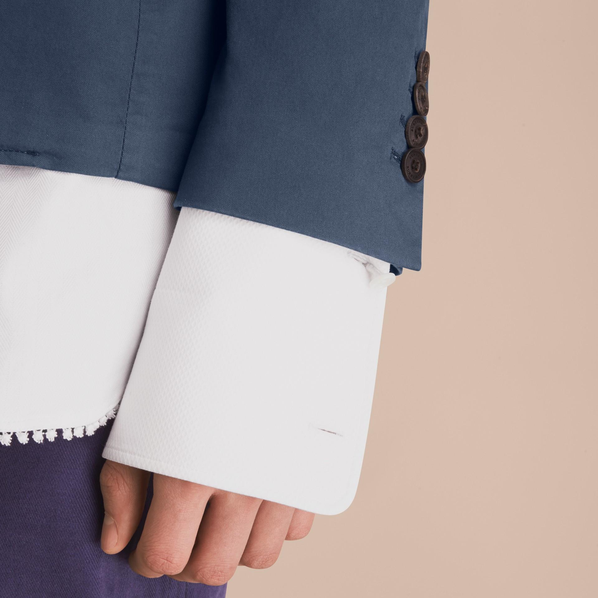 Slim Fit Stretch-cotton Blazer Navy - gallery image 6