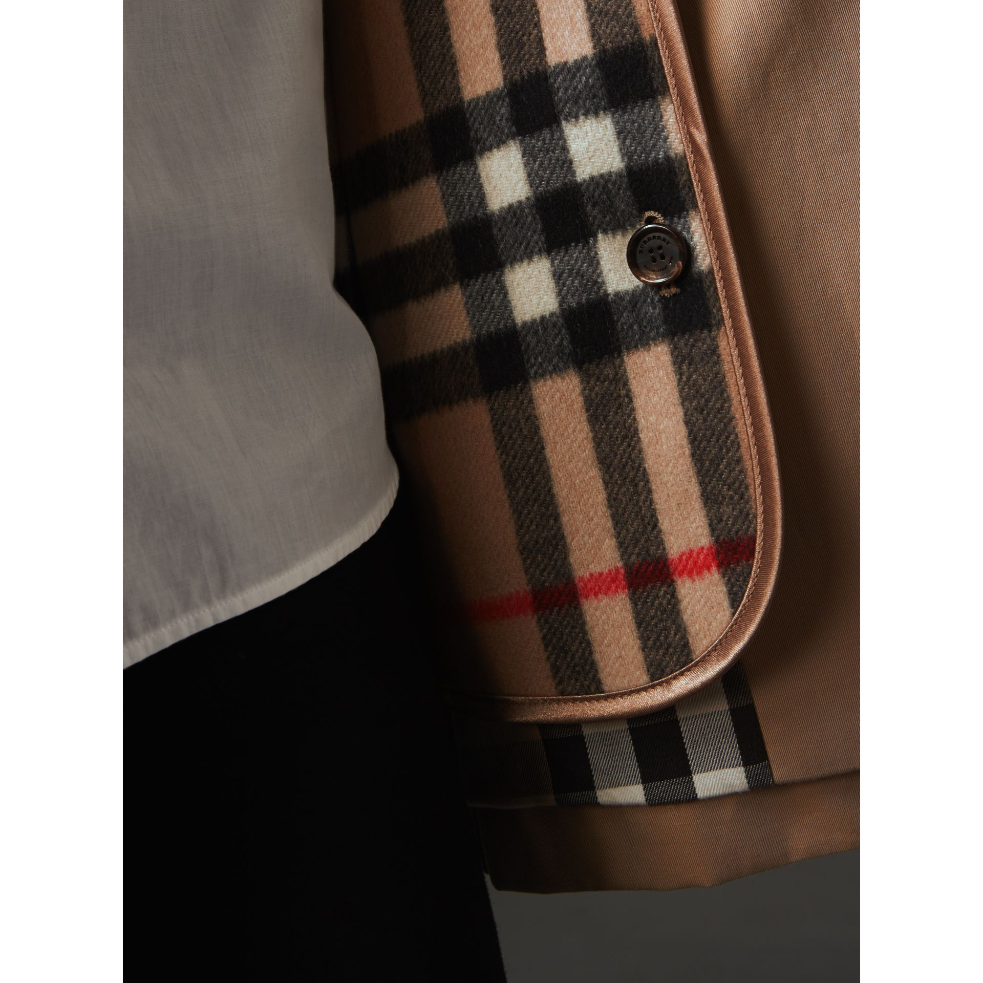 Check Cashmere Wool Warmer in Camel | Burberry Australia - gallery image 1
