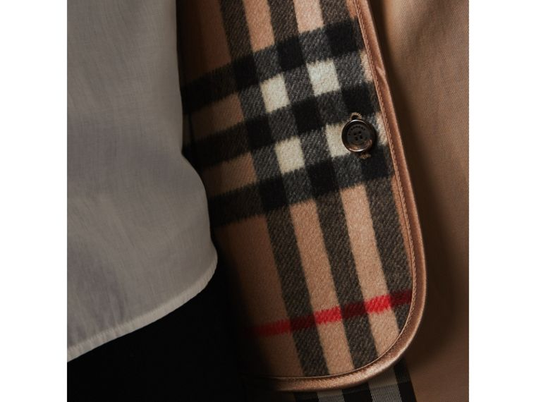 Check Cashmere Wool Warmer in Camel - Women | Burberry - cell image 1