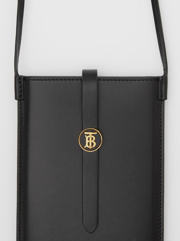 Leather Phone Case with Strap in Black | Burberry - cell image 1