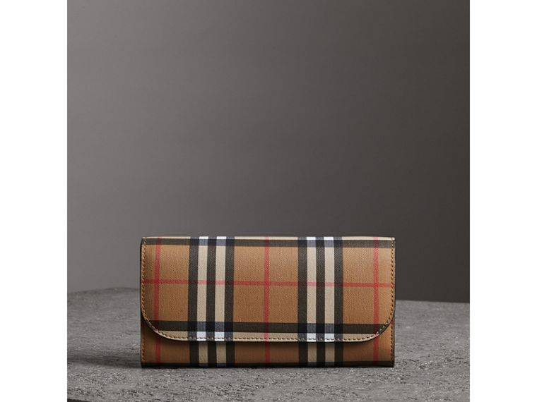 Vintage Check and Leather Continental Wallet in Black - Women | Burberry - cell image 4