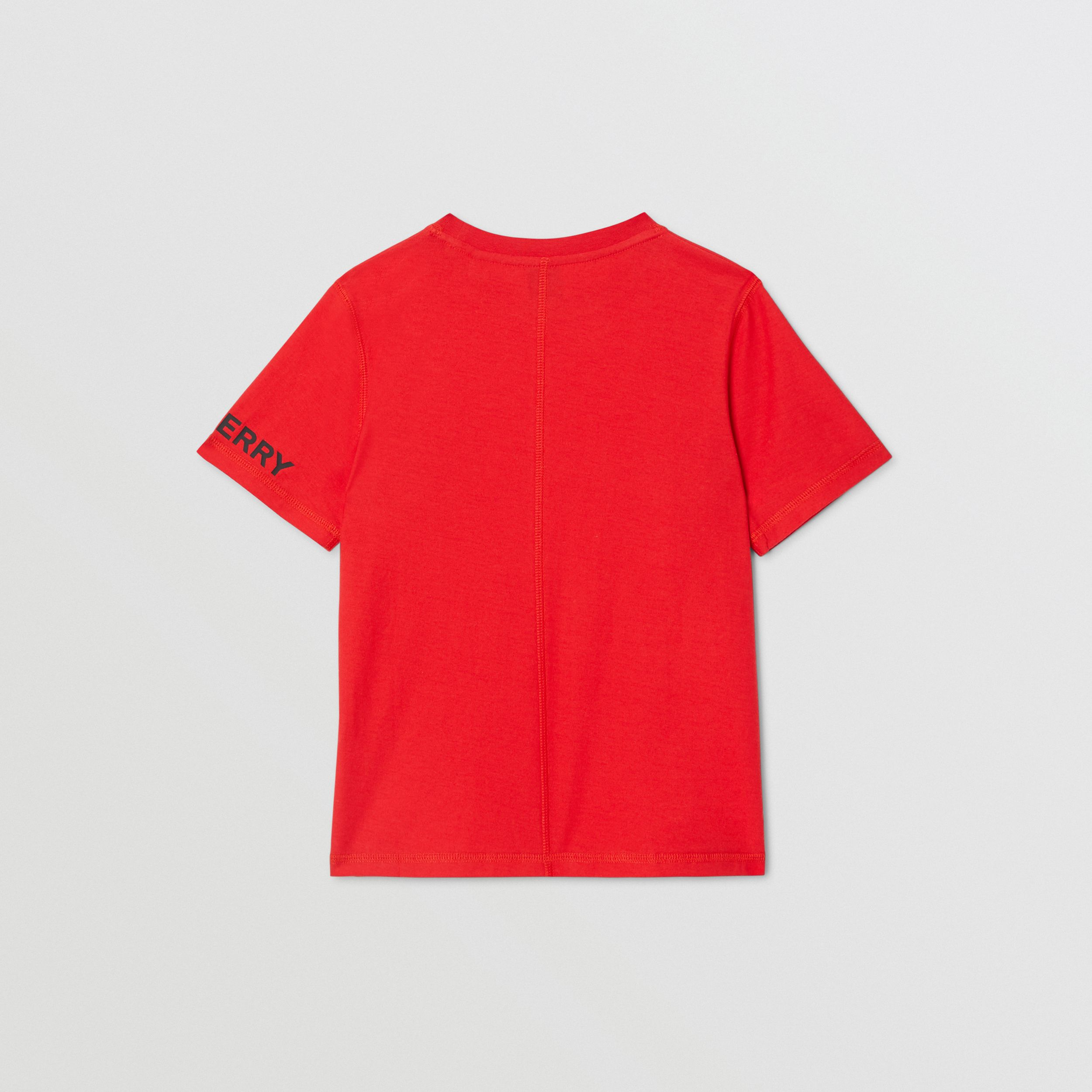 Logo Graphic Cotton T-shirt in Bright Red | Burberry - 4
