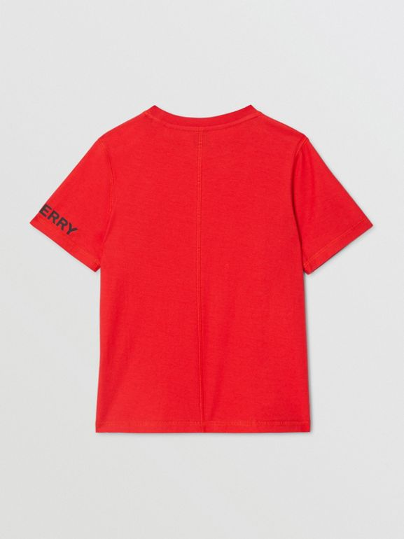 Logo Graphic Cotton T-shirt in Bright Red | Burberry United Kingdom - cell image 1