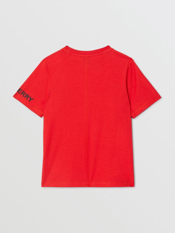 Logo Graphic Cotton T-shirt in Bright Red | Burberry - cell image 3