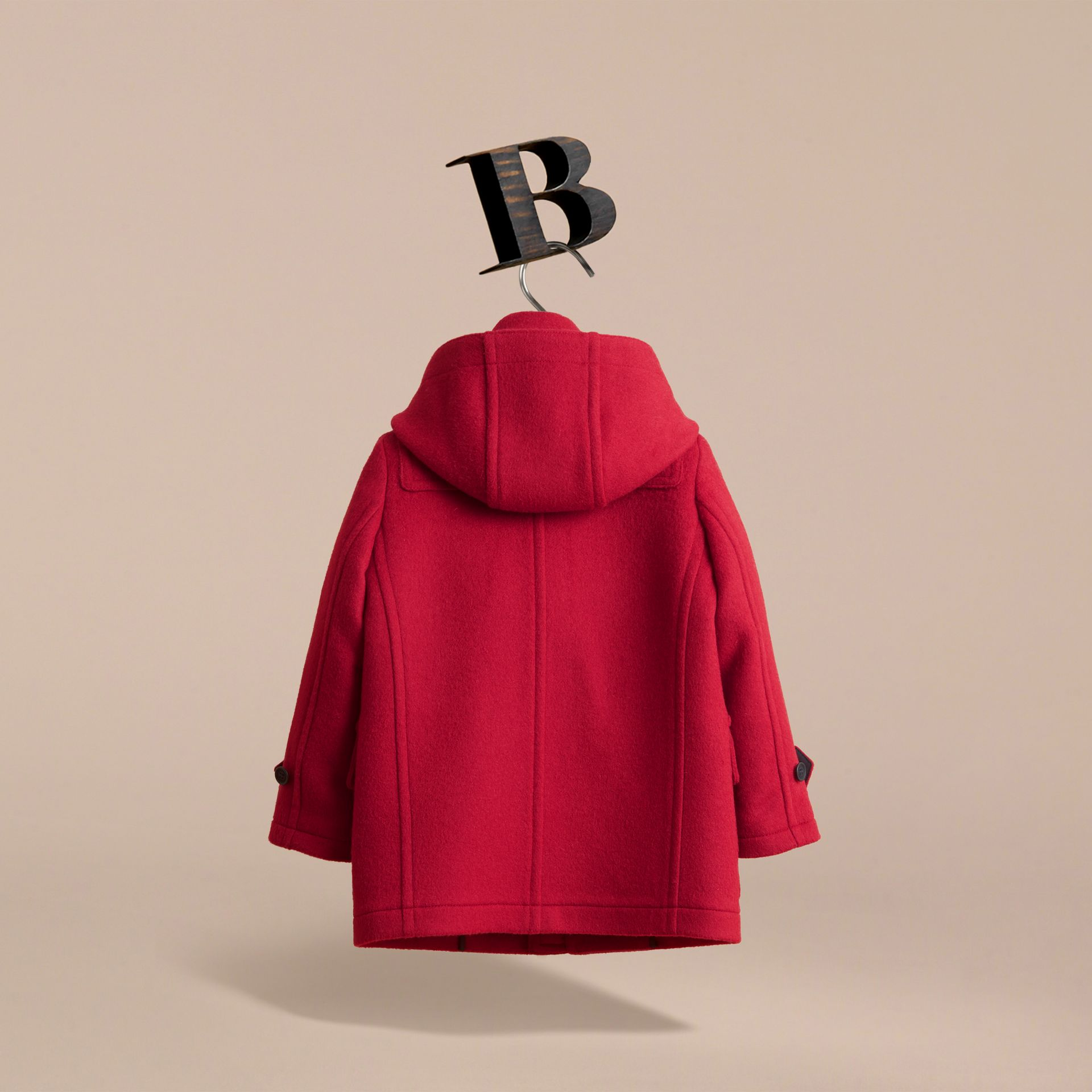 Hooded Wool Duffle Coat in Parade Red - Boy | Burberry Australia - gallery image 4