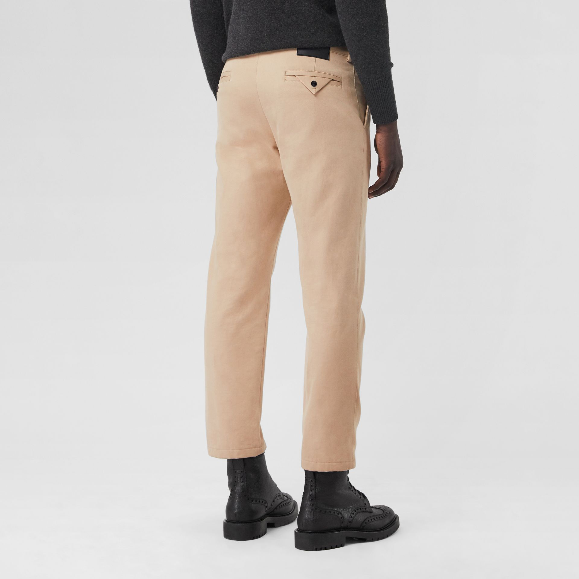 Slim Fit Cotton Blend Chinos in Stone - Men | Burberry - gallery image 2