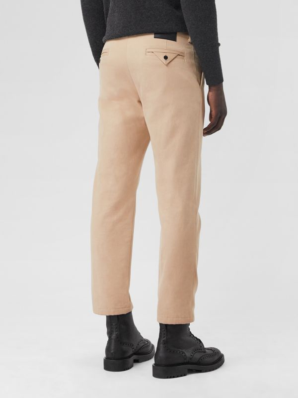 Slim Fit Cotton Blend Chinos in Stone - Men | Burberry Australia - cell image 2