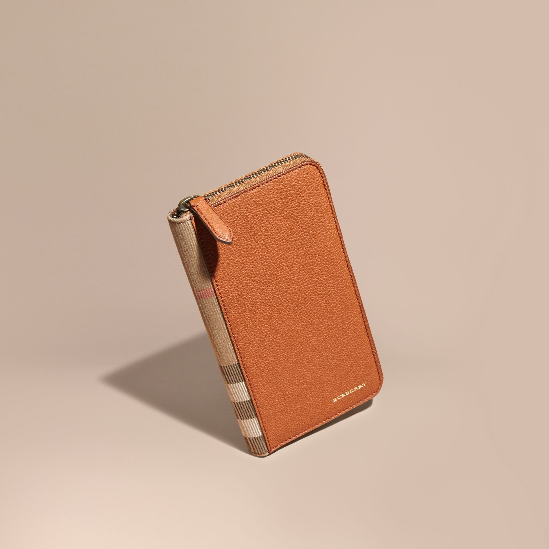 House Check and Grainy Leather Ziparound Wallet Russet - gallery image 1