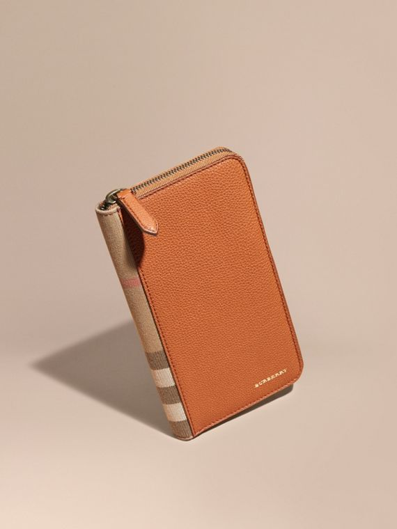 House Check and Grainy Leather Ziparound Wallet Russet