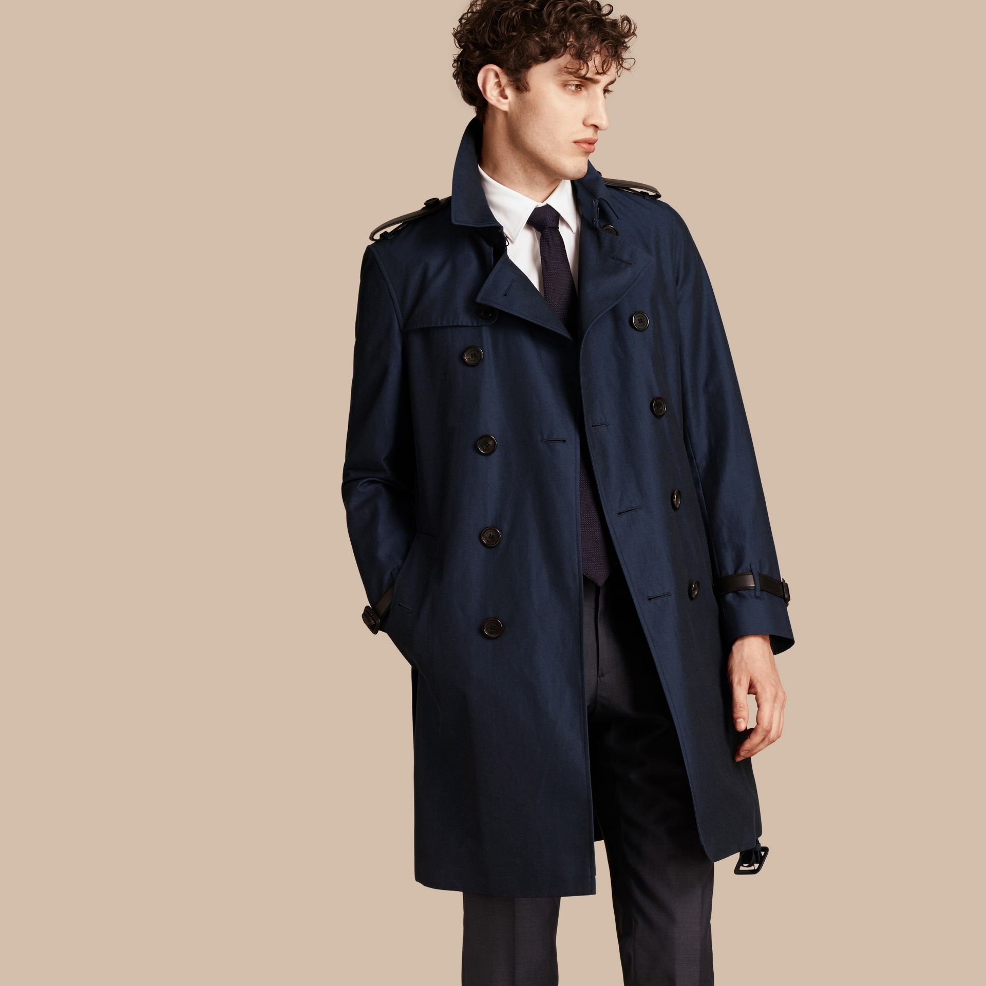 Flint blue Leather Detail Cotton Gabardine Trench Coat - gallery image 1