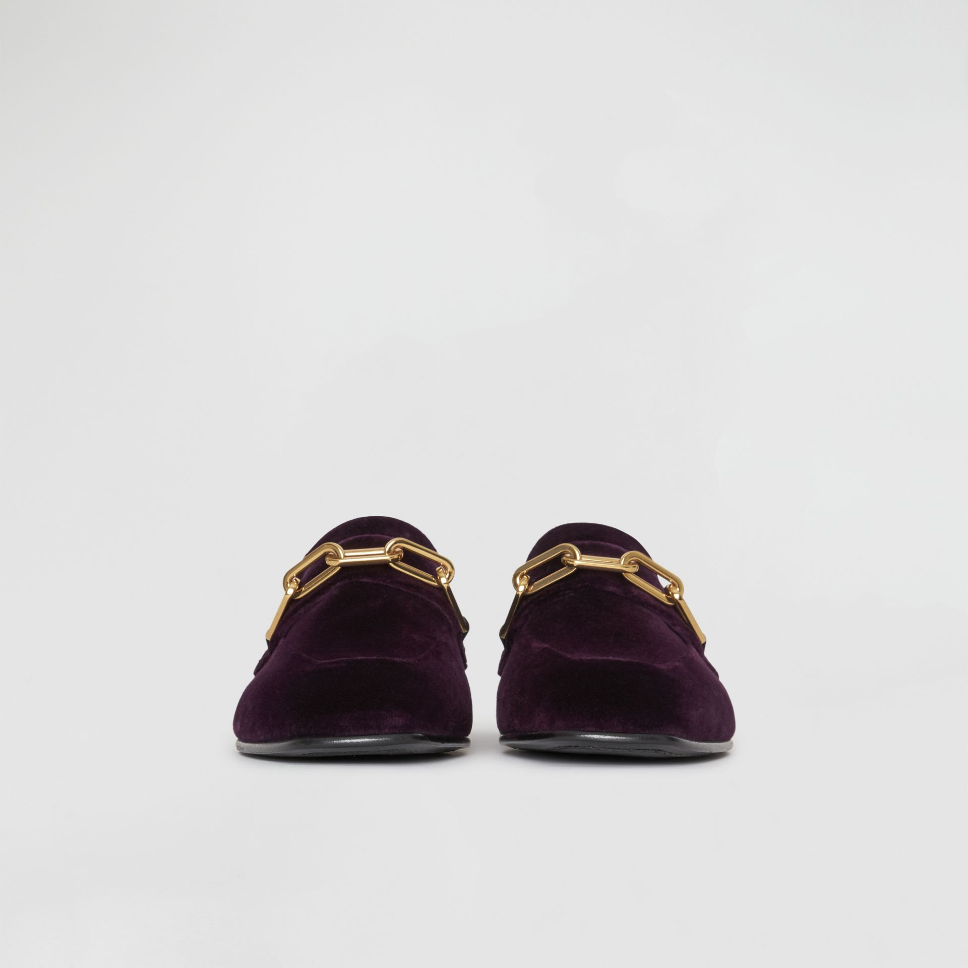 Link Detail Velvet Loafers in Dark Elderberry - Women | Burberry United Kingdom - gallery image 3