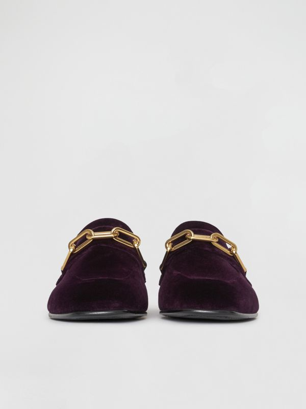 Link Detail Velvet Loafers in Dark Elderberry - Women | Burberry United Kingdom - cell image 3