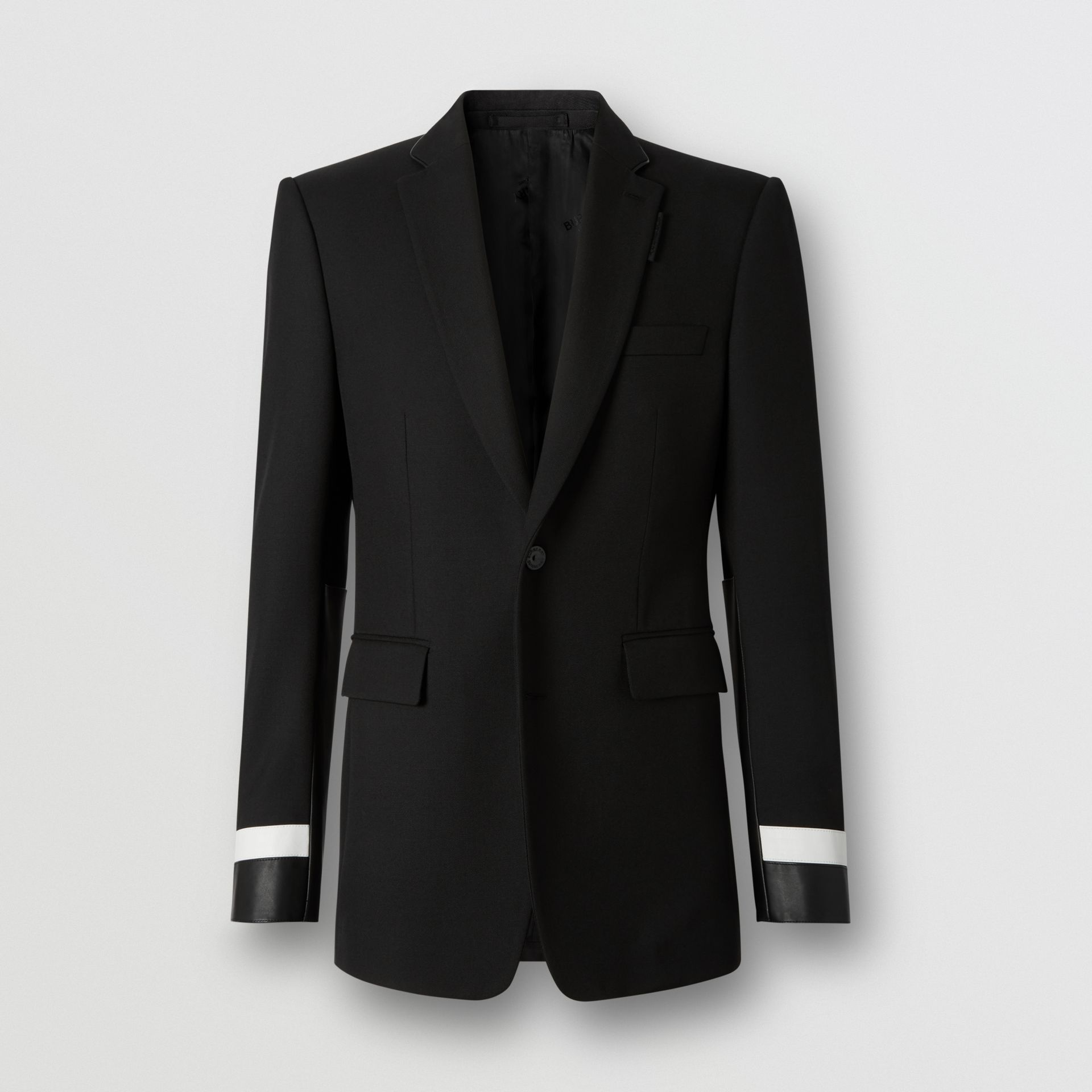 Classic Fit Lambskin Detail Wool Tailored Jacket in Black | Burberry United Kingdom - gallery image 3
