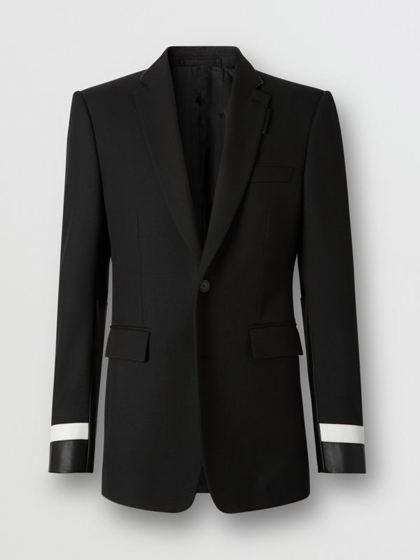 Classic Fit Lambskin Detail Wool Tailored Jacket in Black | Burberry United Kingdom - cell image 3