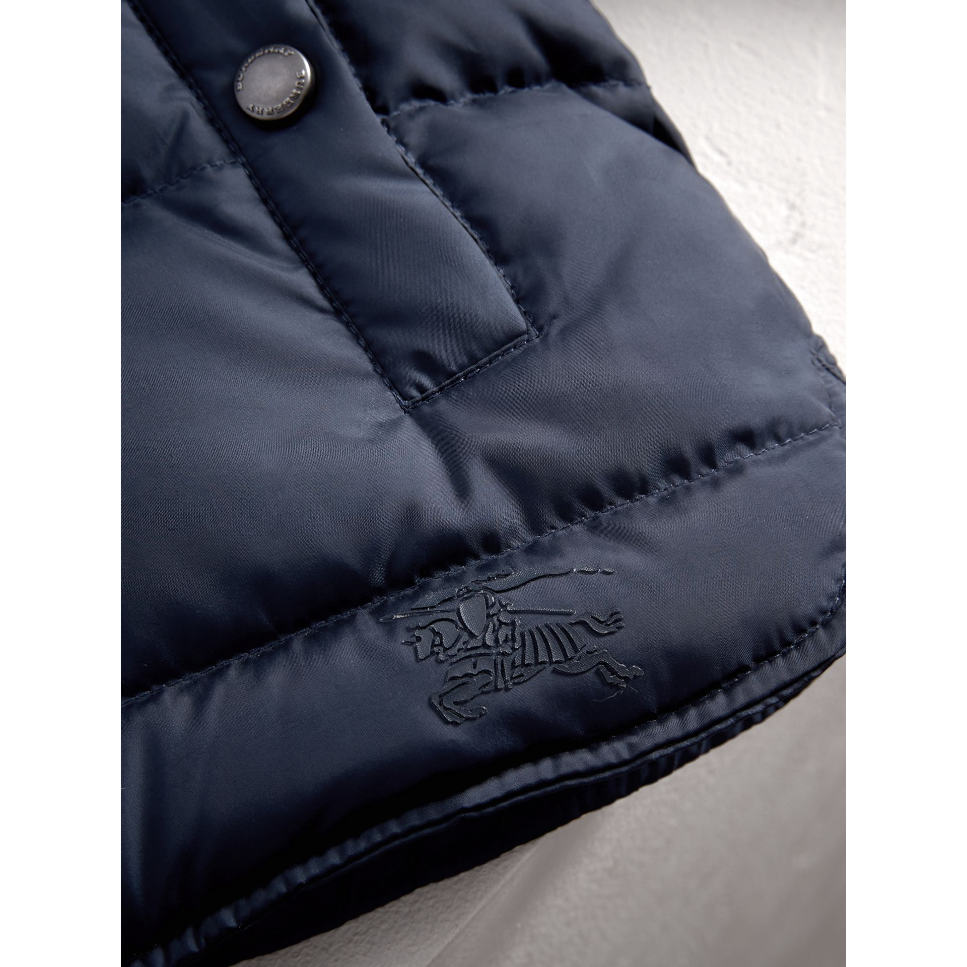 Hooded Down-filled Puffer Jacket with Mittens in Navy | Burberry Australia - gallery image 1