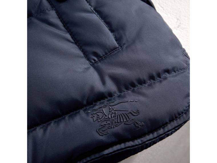 Hooded Down-filled Puffer Jacket with Mittens in Navy | Burberry United Kingdom - cell image 1