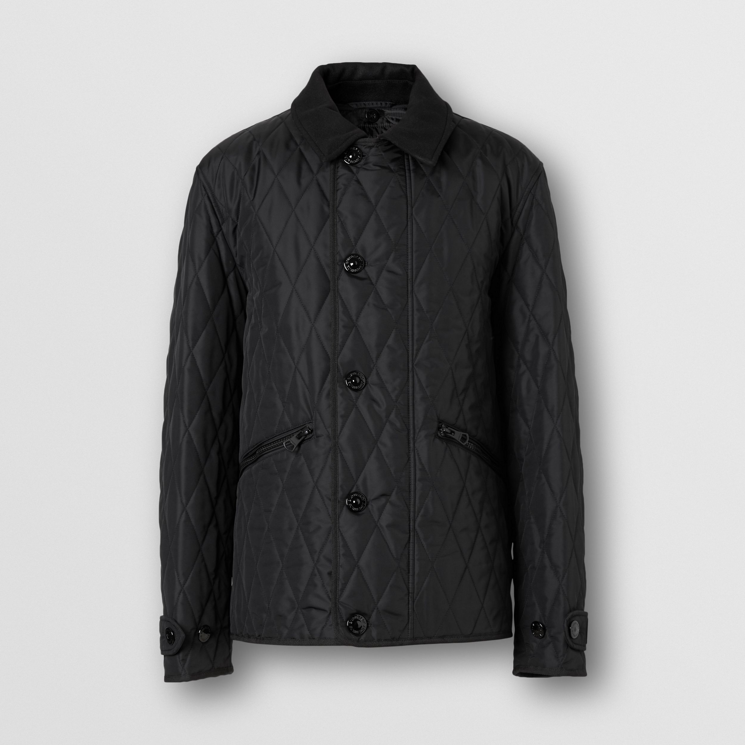 Diamond Quilted Jacket with Warmer in Black - Men | Burberry - 4