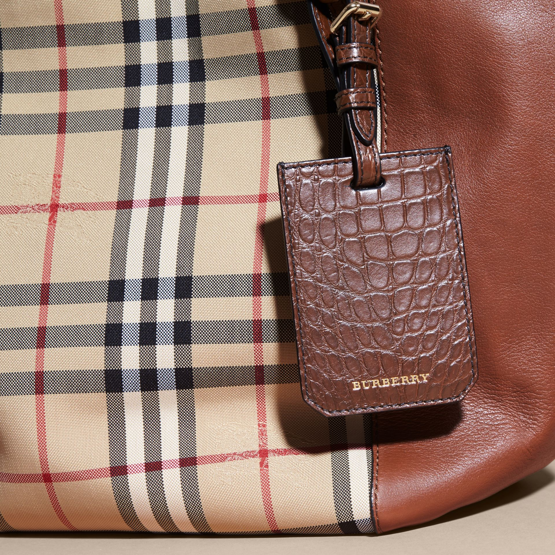 Alligator Luggage Tag in Flax Brown | Burberry - gallery image 5