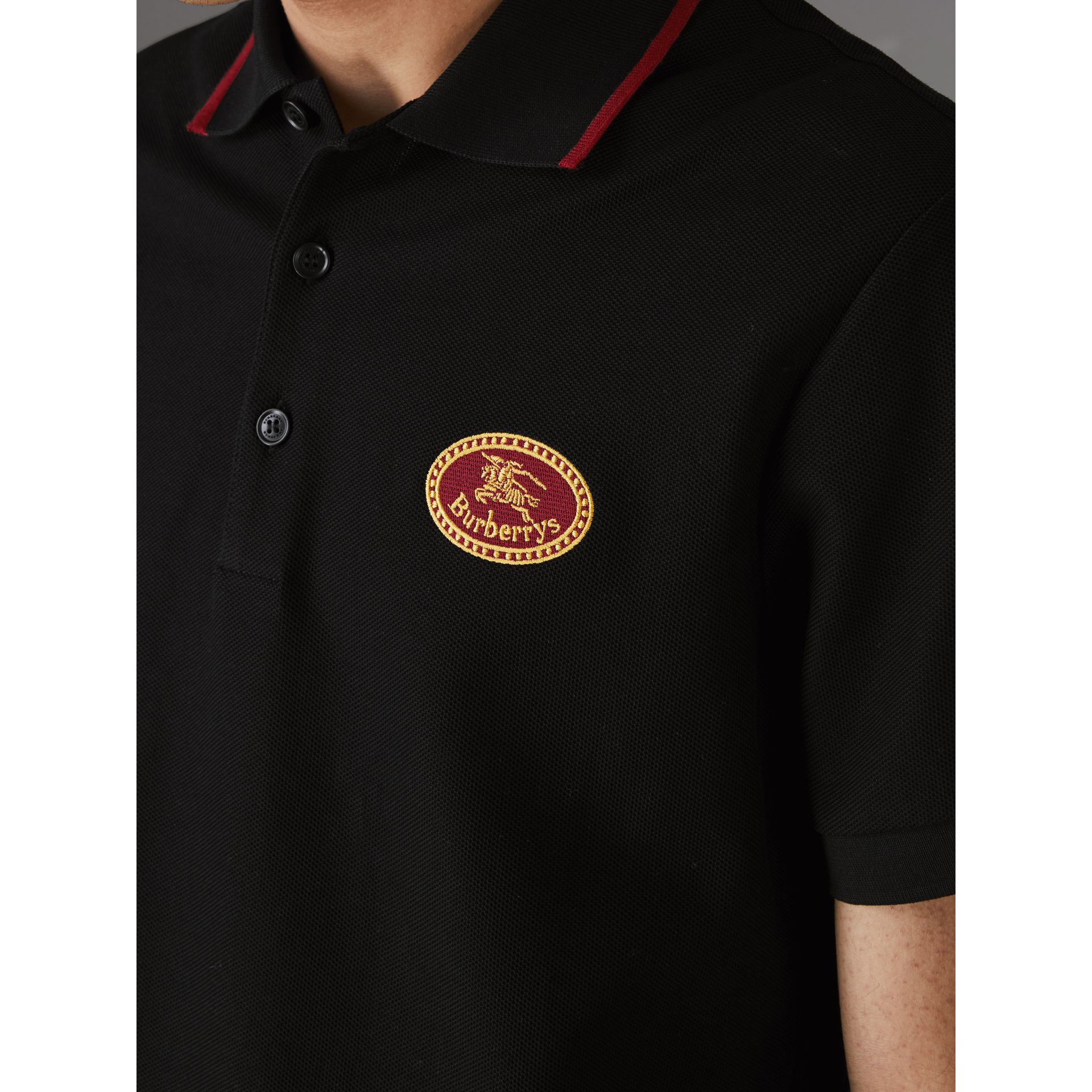Archive Logo Cotton Piqué Polo Shirt in Black - Men | Burberry - gallery image 1