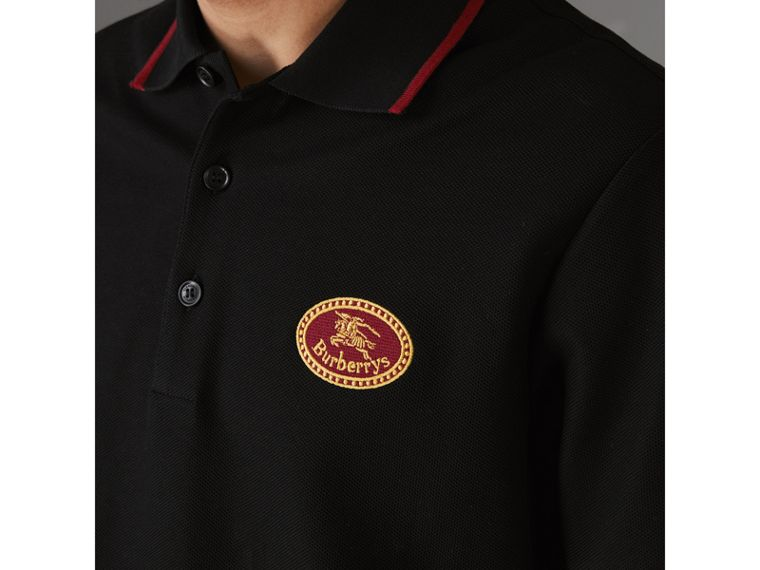 Polo in cotone piqué con logo d'archivio (Nero) - Uomo | Burberry - cell image 1