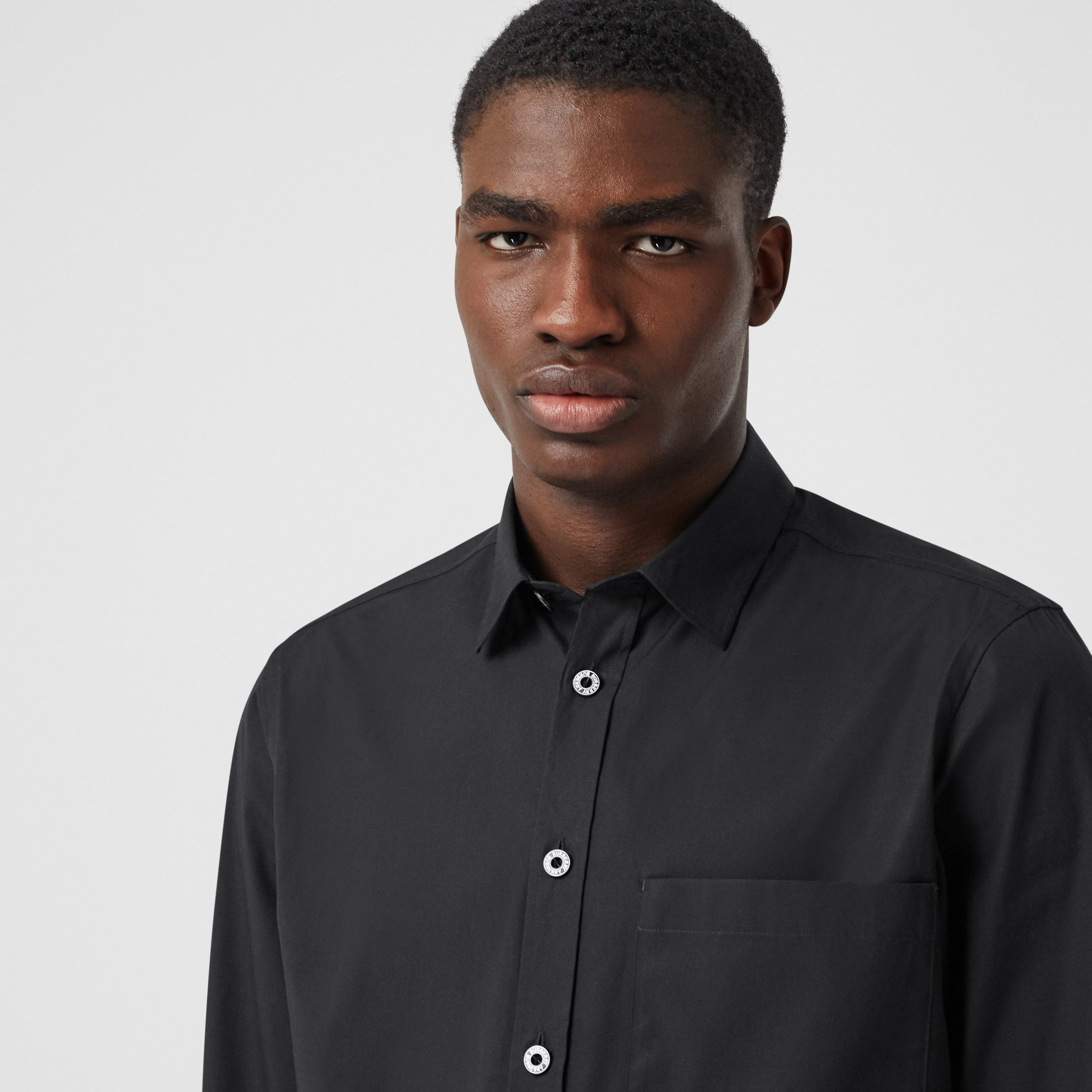 Slim Fit Stretch Cotton Poplin Shirt in Black - Men | Burberry - 2
