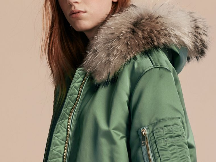Eucalyptus green Long-line Satin Bomber Jacket with Fur-trimmed Hood Eucalyptus Green - cell image 4