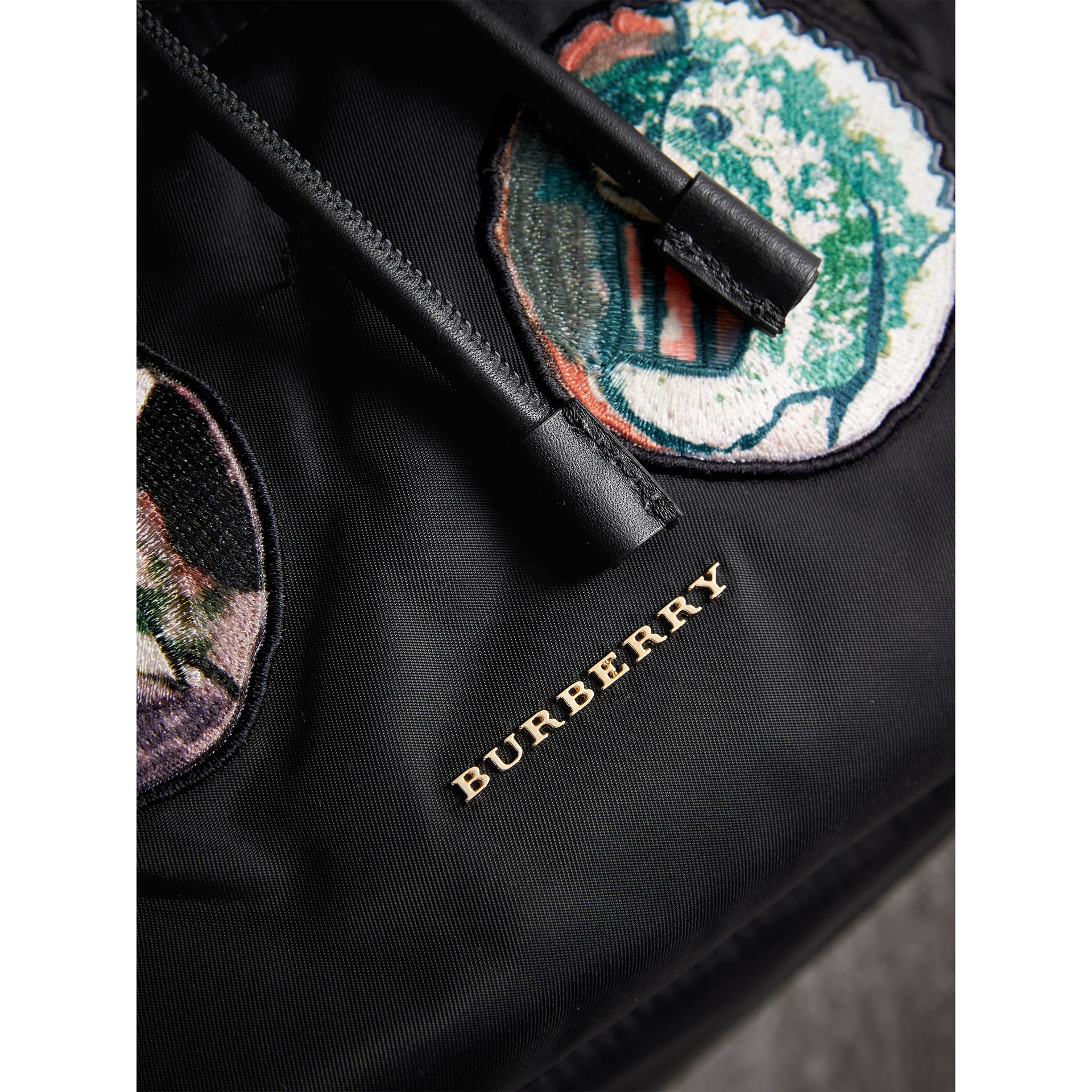 The Medium Rucksack in Technical Nylon with Pallas Heads Appliqué in Black - Women | Burberry - gallery image 2